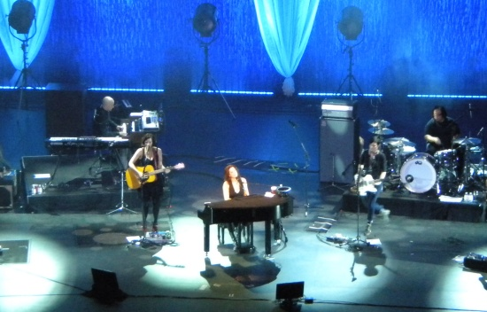 Sarah McLachlan performs a New Year's Day concert at the MGM Grand at Foxwoods, with Melissa McClelland at left and Butterfly Boucher at right.